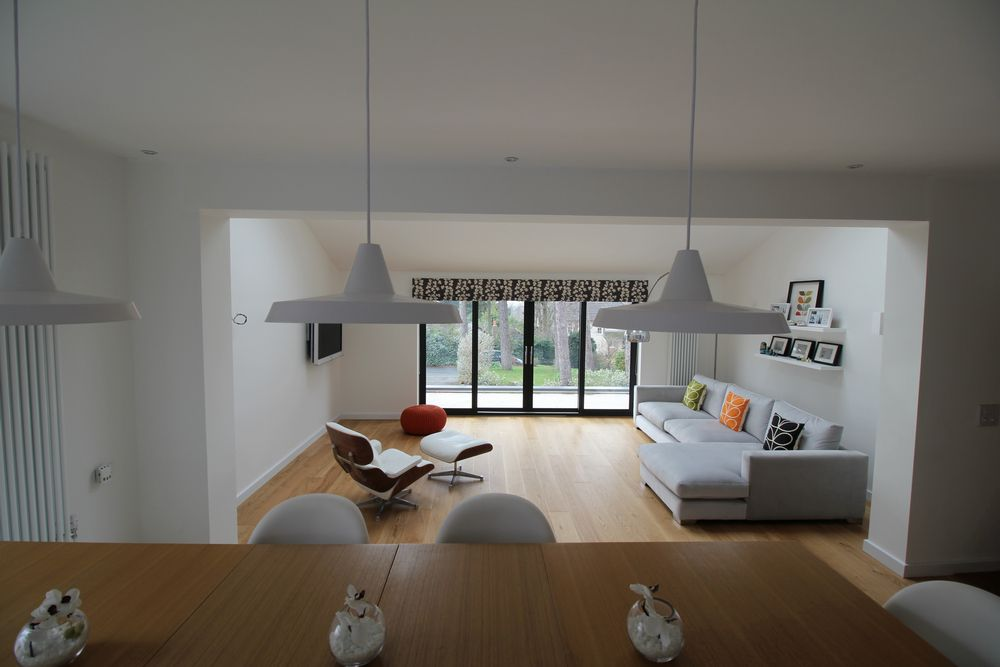 Internal shot of split level dining / living space in a large open plan conversion in Heswall, Wirral.