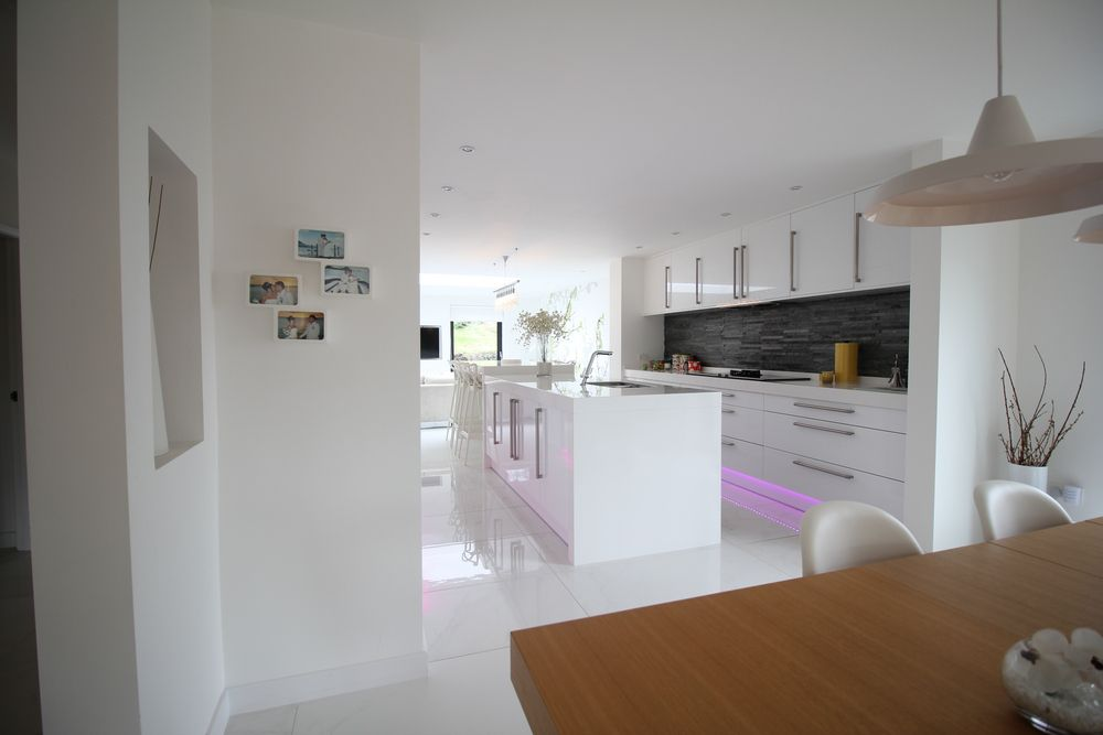 Modern kitchen detail within open plan living conversion completed by recommended Wirral builders OPB.