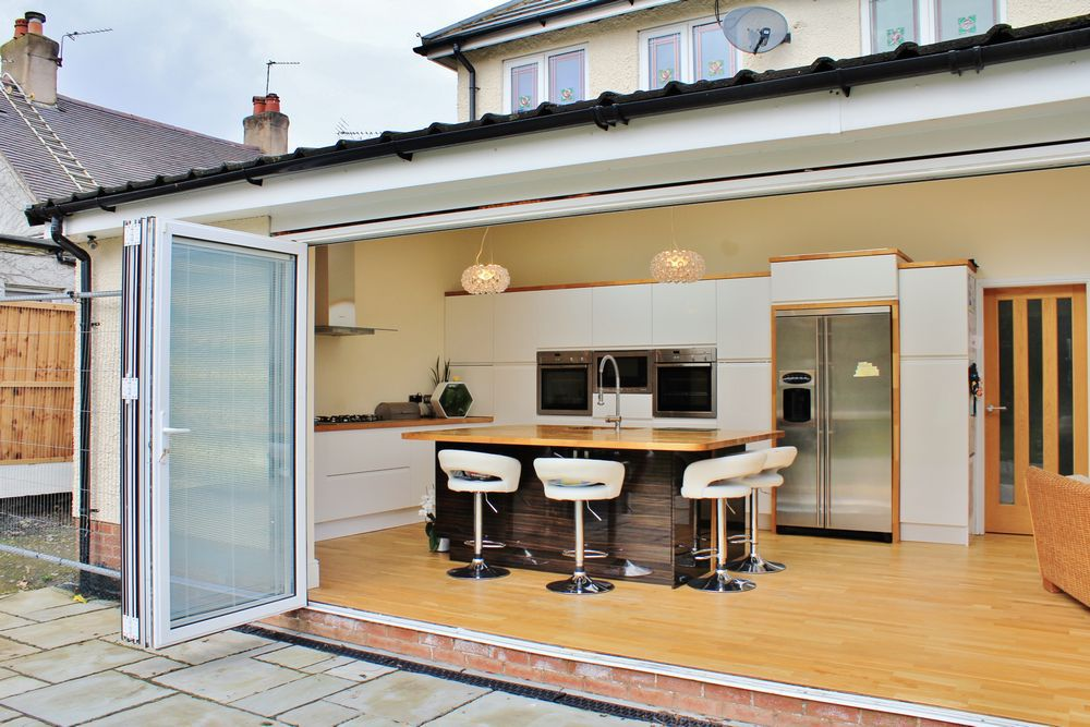 Internal / external shot of kitchen / dining / living extension Pensby, Wirral.