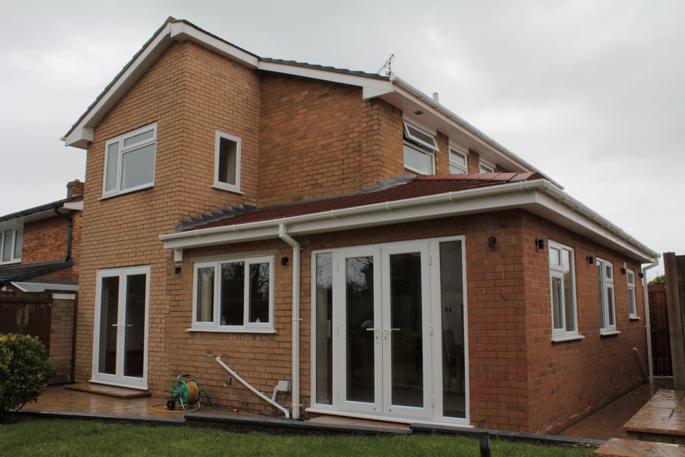 External rear view of side extension to create a large kitchen dining area in Pensby, Wirral.